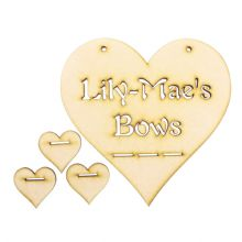 3mm MDF Bobble Hair Clip Ribbon Bow Holder Hanger Plaque Personalised - Heart